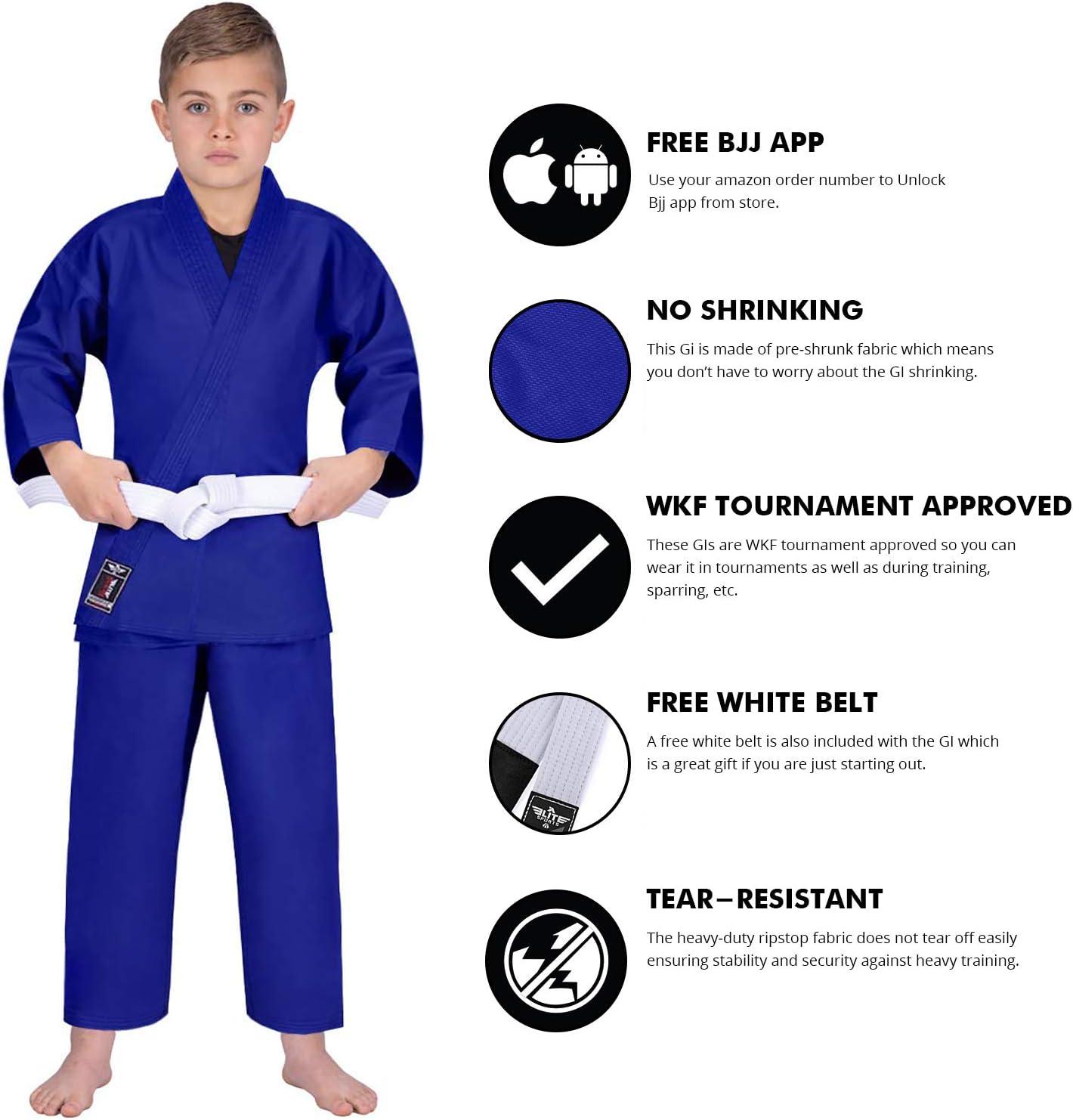 Elite Sports Kids Karate GI Uniforms Lightweight Karate Uniform for Youth with Free Belt