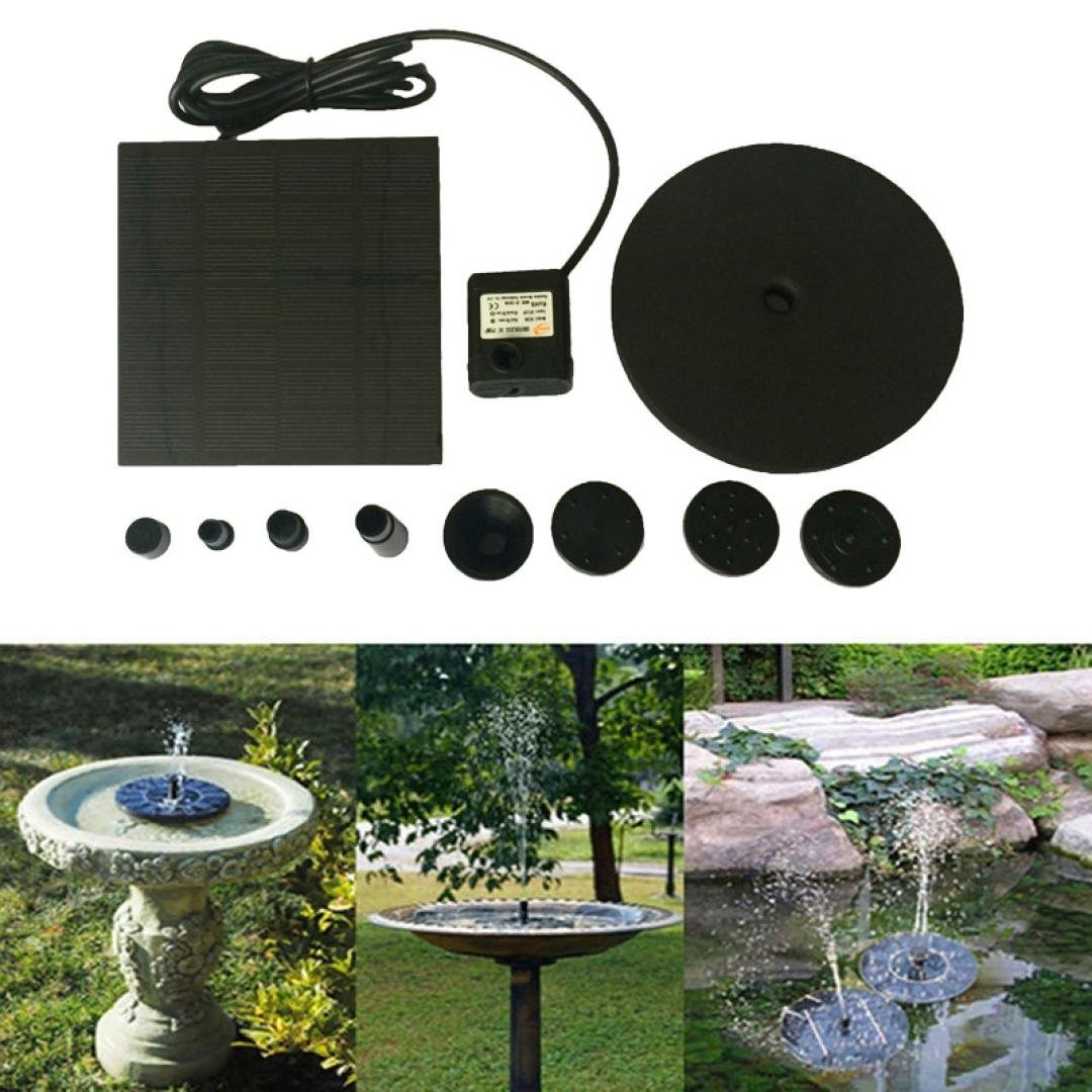 Transer Solar Panel Fountain for Garden and Patio, Free Standing Solar Panel Kit Water Pump, Outdoor Watering Submersible Pump (Black)