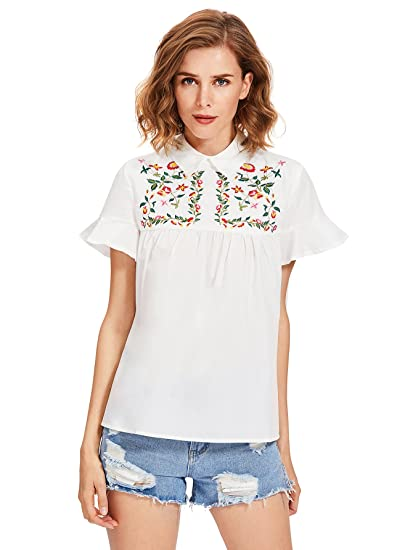 Floerns Women S Peter Pan Collar Floral Embroidered Blouse At Amazon