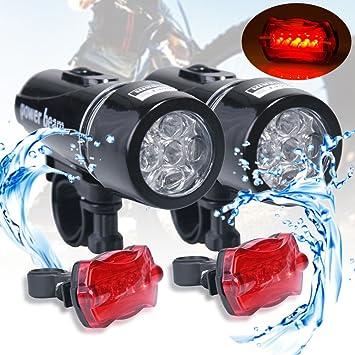 2 x 5 Set de iluminación LED para bicicleta bicicleta luz ...