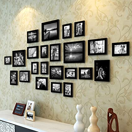 Painting Mantra Art Street Extravagant Individual Wall Photo Frame, Set of 23 (Multiple Size , Black)