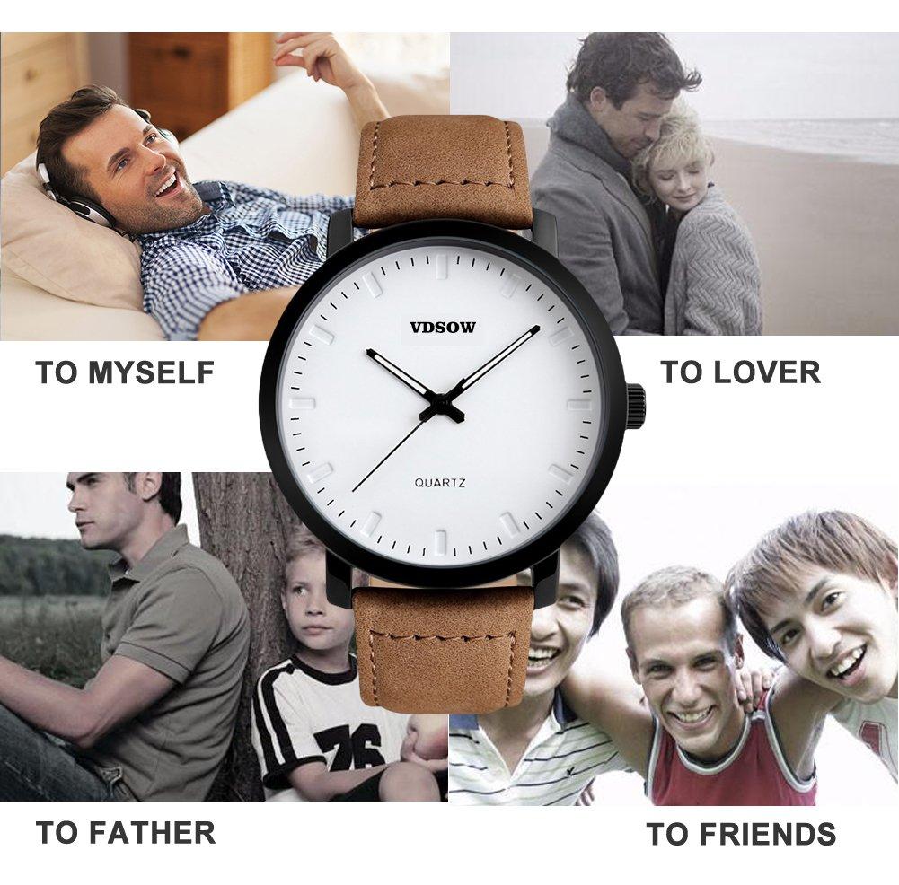 Homme poignet montres avec bracelet cuir Marron - Classic Big Face analogique montre à quartz, 3 ATM étanche Mode décontracté Business Robe montres avec date Calendrier Design Simple pour homme