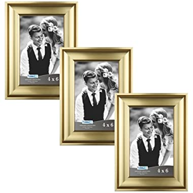 Icona Bay 4x6 Picture Frame (3 Pack, Gold), Gold Photo Frame 4 x 6, Wall Mount or Table Top, Set of 3 Elegante Collection