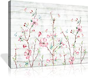"Flower Wall Art for Bedroom Wall Decor Small fresh Hand Painted Watercolor Cherry Wood Grain Butterfly Flower Contemporary Artwork Bathroom Home Decor Canvas Prints 1 Panel 16""x20"""