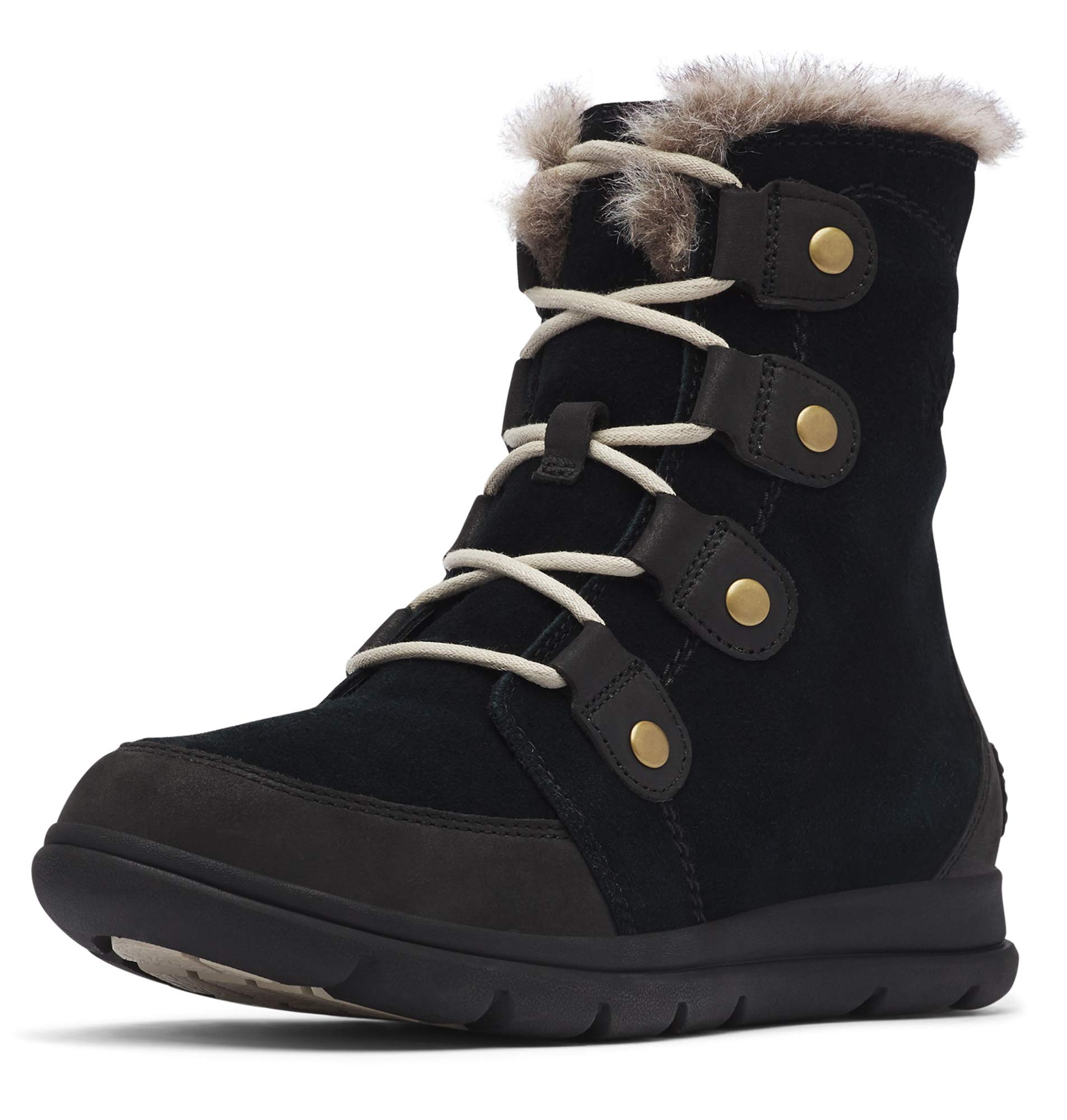 Sorel - Women's Explorer Joan Waterproof Insulated Winter Boot, Black/Dark Stone, 9 M US by Sorel