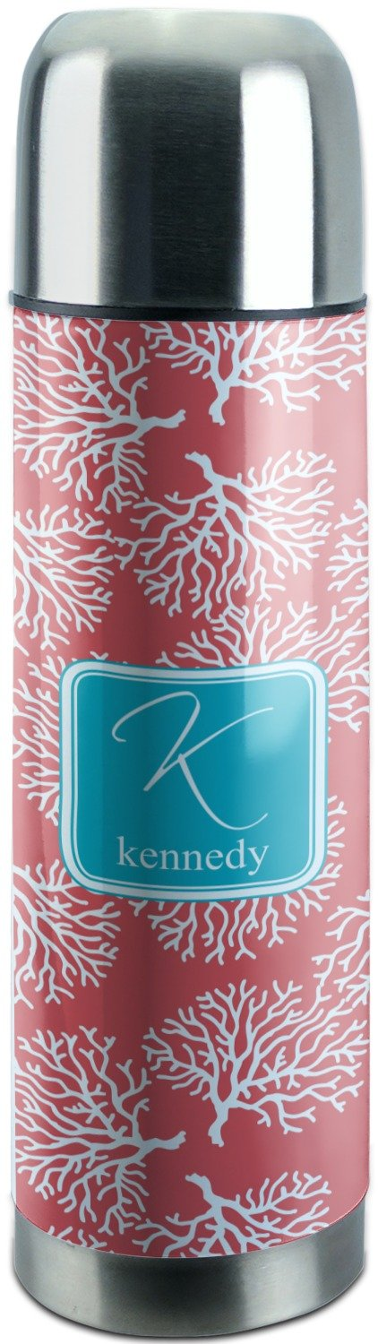 Coral & Teal Stainless Steel Thermos (Personalized)