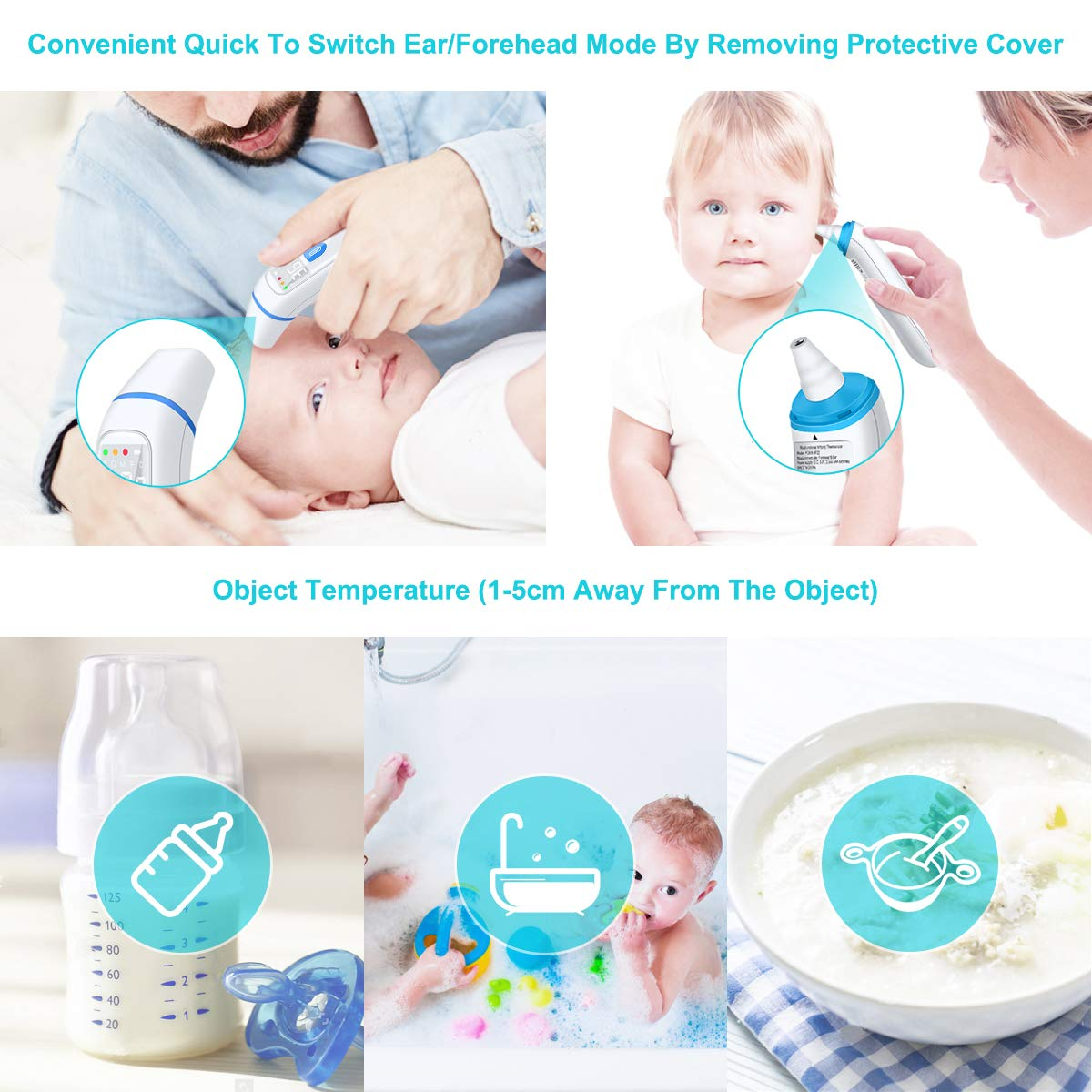 Upgrade Ear Forehead Thermometer Digital Infrared Medical Professional Accurate Precision Baby Kids Adult 5 in 1 Eye High Temperature Fever Alarm Warning Best Protection White Backlight Head