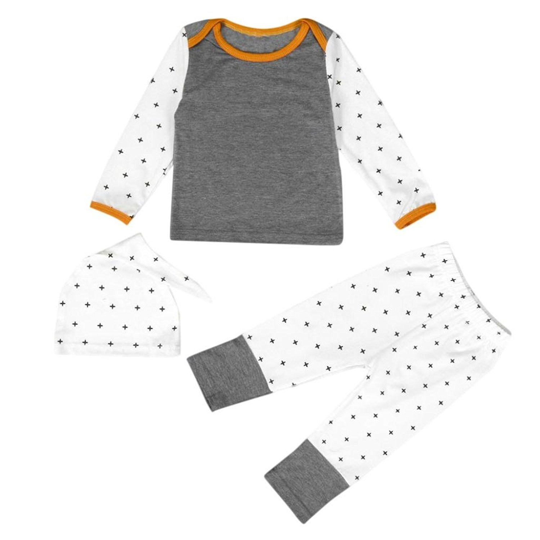 GQMART 1Set Baby Boys Girls Clothes Long Sleeve T-Shirt+Long Pants Hat