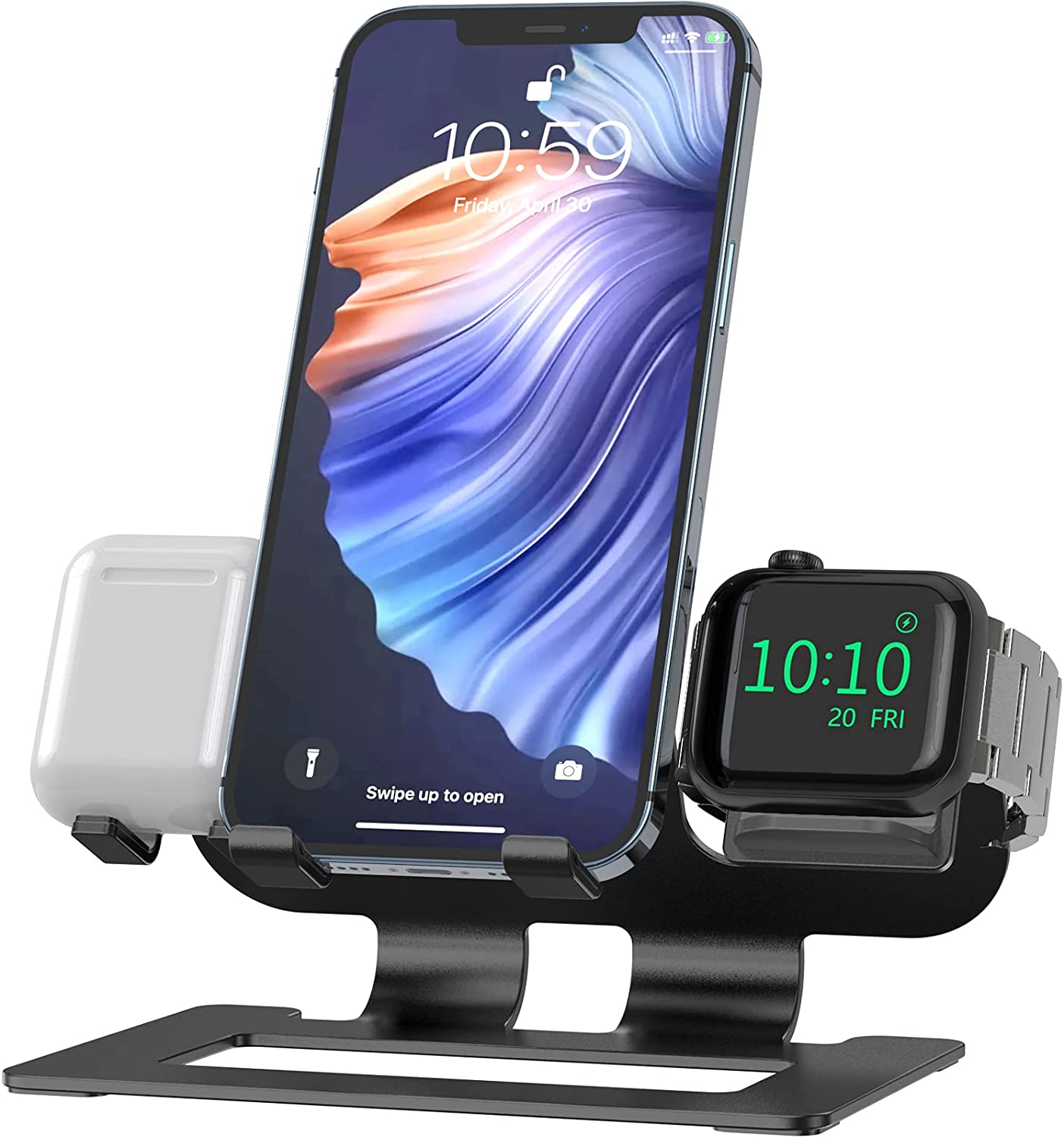Deszon 3 in 1 Charging Station for Apple Watch Stand for iWatch Dock Stand Series SE/6/5/4/3/2/1, Aluminum iWatch Charger Stand for AirPods Pro/2/1 iPhone 12/11/X/XR/8/7/6 Watch Stand - Black