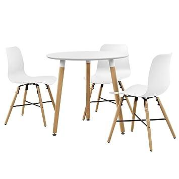 en.casa]®] Juego de Comedor - Mesa (Redonda- ø80cm) con 3 sillas de ...