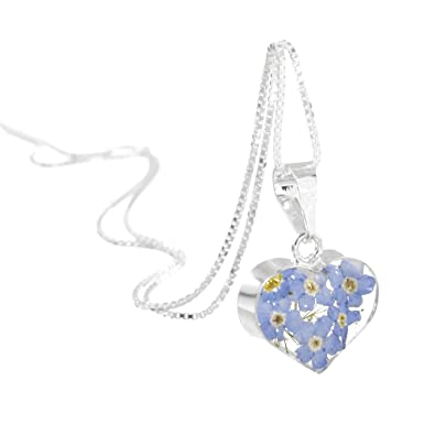 c8fe06233 Shrieking Violet Silver heart pendant made with real forget-me-nots -  includes an