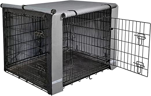 yotache Dog Crate Cover for 18 22 24 30 36 42 48 Inches Double Door Wire Dog Cage, Lightweight 600D Polyester Indoor/Outdoor Durable Waterproof Pet Kennel Covers, Gray