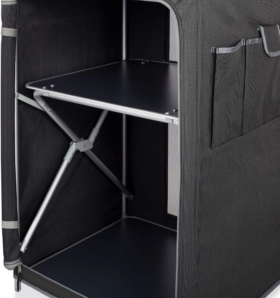 CAMPART KI-0710 - Cocina de Camping Almeria con Paravientos, Bolsa de Almacenamiento incluida, 1 Puerta, Antracita