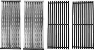 SafBbcue Cast Iron Cooking Grates and Infrared Emitter Replacement for Charbroil Infrared Grills 463241013 463243812 463246909 463262210 463270610 463273614 466241013 466247110 (Set of 2)