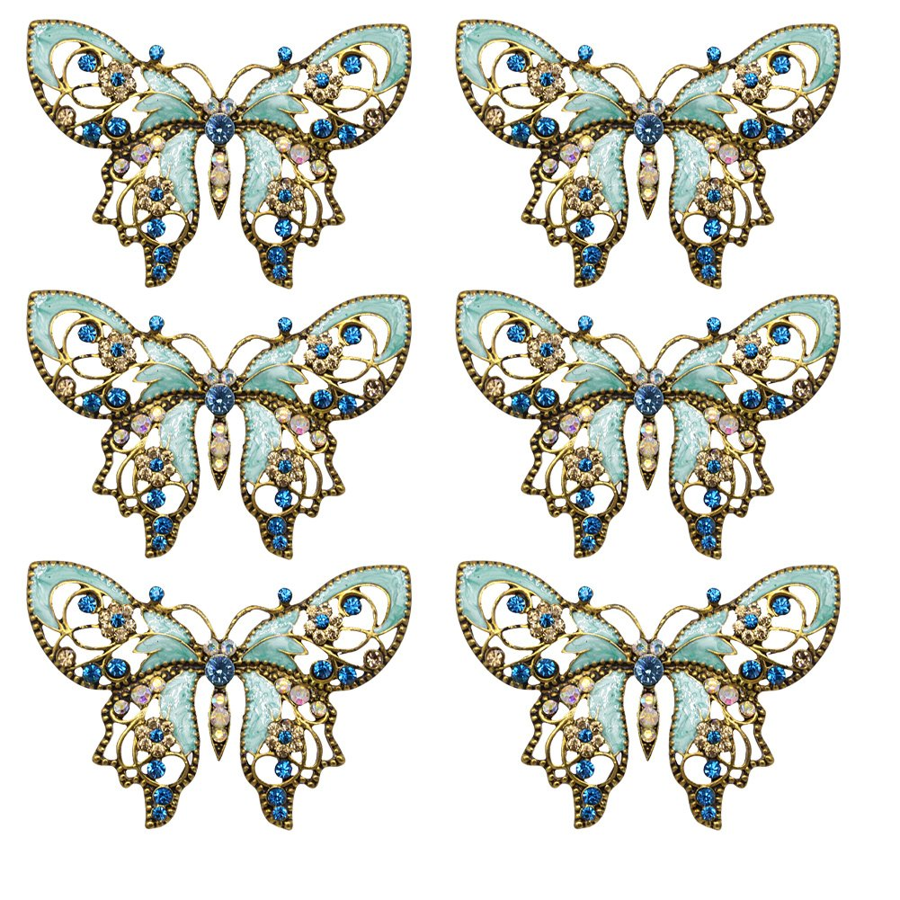 eGlomart Vintage Style Golden Aquamarine Blue Rhinestones Butterfly Brooch Pin [6-PACK]