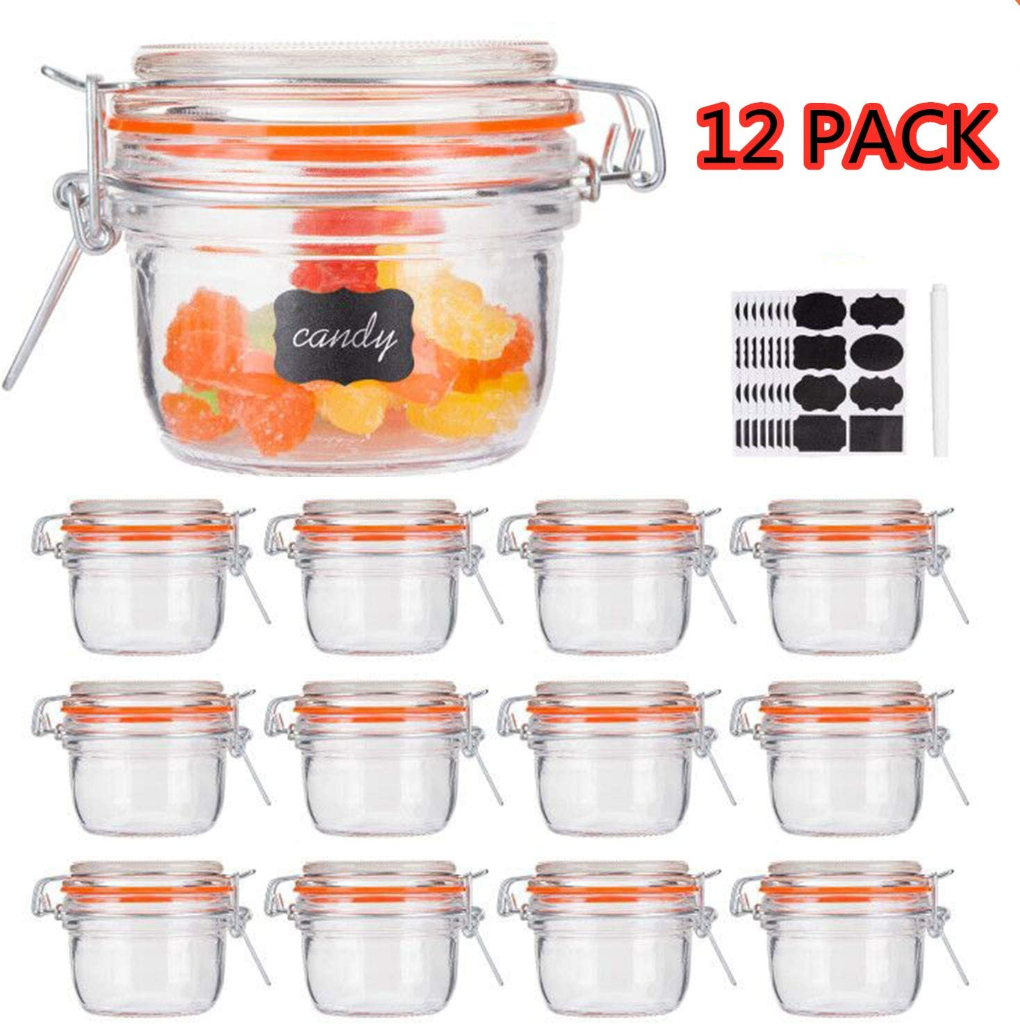 Small Glass Jars With Airtight Lids,Encheng Glass Spice Jars 5 oz,Maosn Jars With Leak Proof Rubber Gasket 150ml,Glass Storage Containers With Hinged Lid,Kitchen Canisters 12 Pack …
