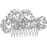 EVER FAITH Silver-Tone Cubic Zirconia Austrian Crystal Charming Flower with Lots Leaves Hair Comb Clear