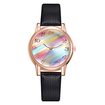 Fashion Rainbow Dial Ladies Watch Delicate Female Leather Quartz Wrist Watch Exquisite Women Watches Clock Relojes