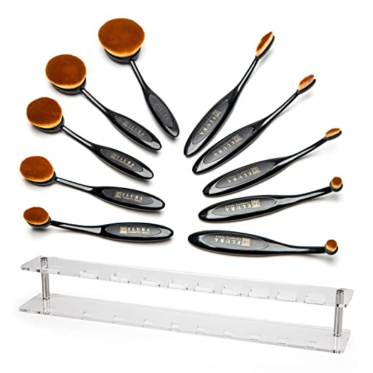 oval makeup brushes uses. soft oval makeup brush set complete with rack - angled brushes for comfortable professional uses