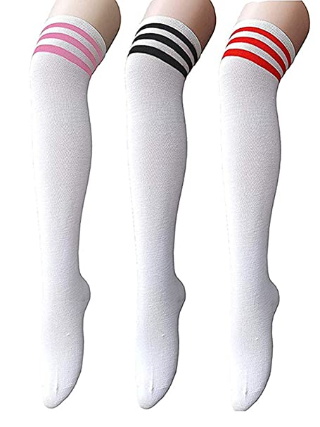 1afacbd36af Zando Women Plus Size Thigh Highs Over the Knee High Sporty Athletic Socks  Tights Stripe Thigh
