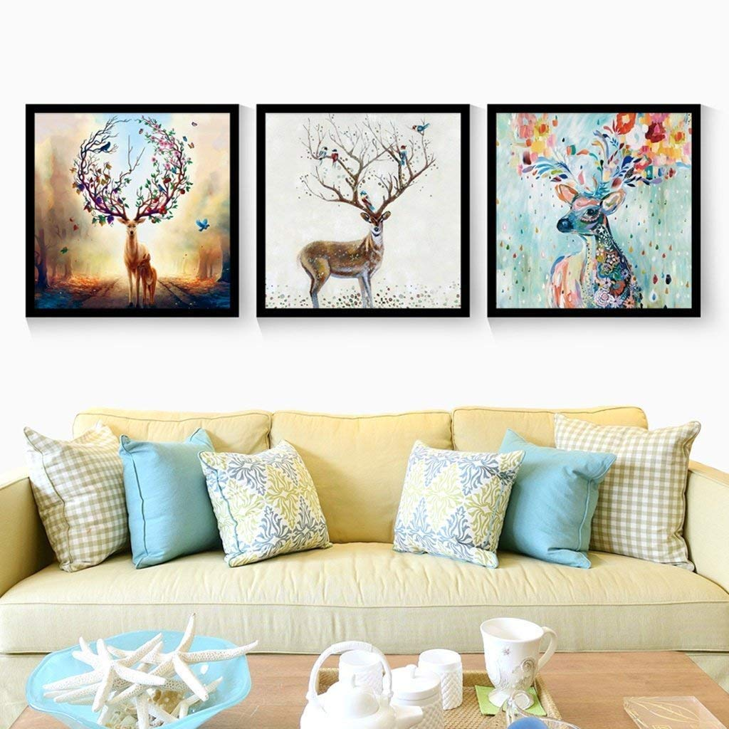 Xixuan Store Photo Wall 3 Multi Mural Set Solid Wood Continental Style elk Triptych Living Room Mural for Living Room/with Pictures Photo Fram for Desk (Color : 8080cm|White Box)