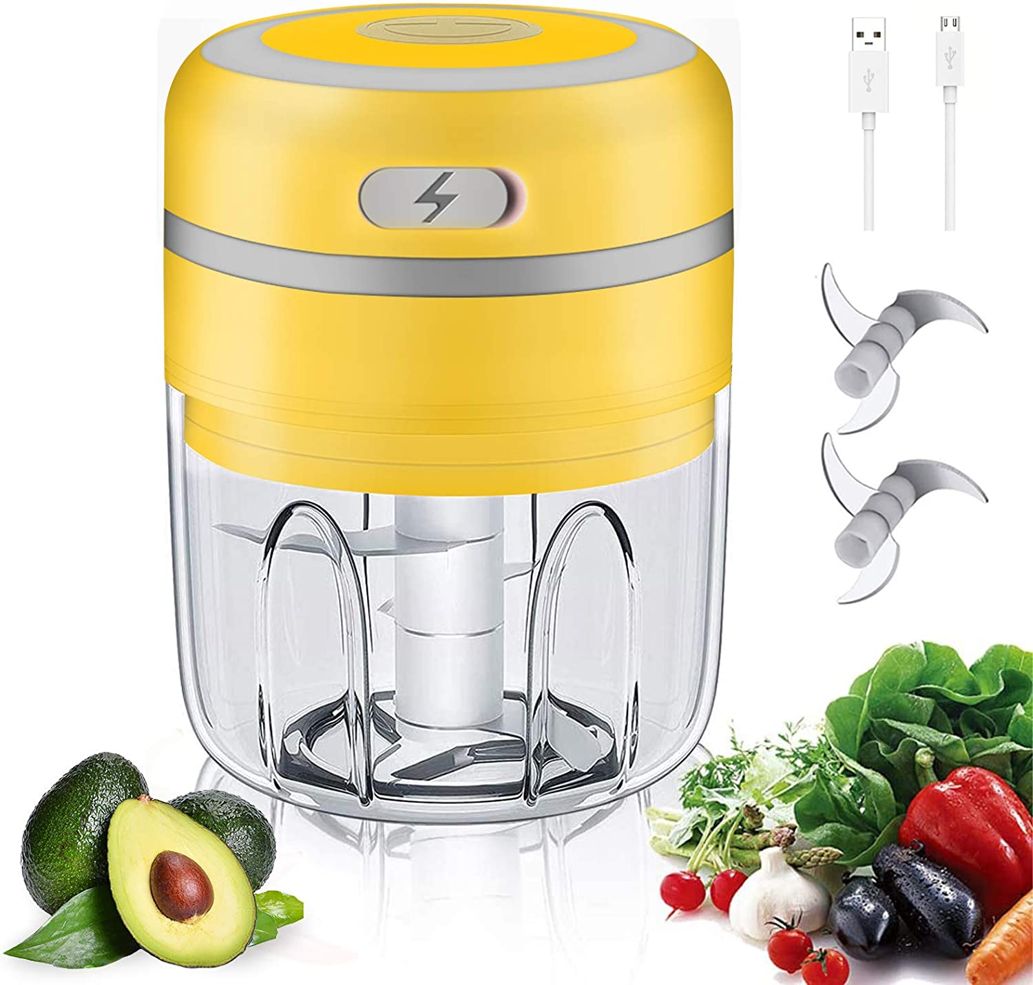 Electric Mini Garlic Chopper, Food Dicers Food Slicer Crusher Powerful Food Chopper 250ml Mini Usb Wireless Garlic Masher Press, Wireless Grinder with Improved Assembly, for Vegetables