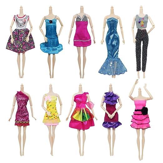 Anjing 10 Pack ropa para Barbie muñeca vestido de fiesta ...