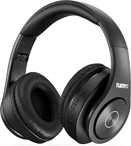 Bluetooth Headphones,Tuinyo Over Ear Stereo Wireless Headset 35H Playtime with Deep Bass,Soft Memory-Protein Earmuffs,Built-in Mic Wired Mode PC Cell Phones TV-Black