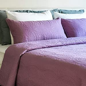 Mezzati Bedspread Coverlet Set Purple-Jasper – Prestige Collection - Comforter Bedding Cover – Brushed Microfiber Bedding 3-Piece Quilt Set (Queen/Full, Purple Jasper)