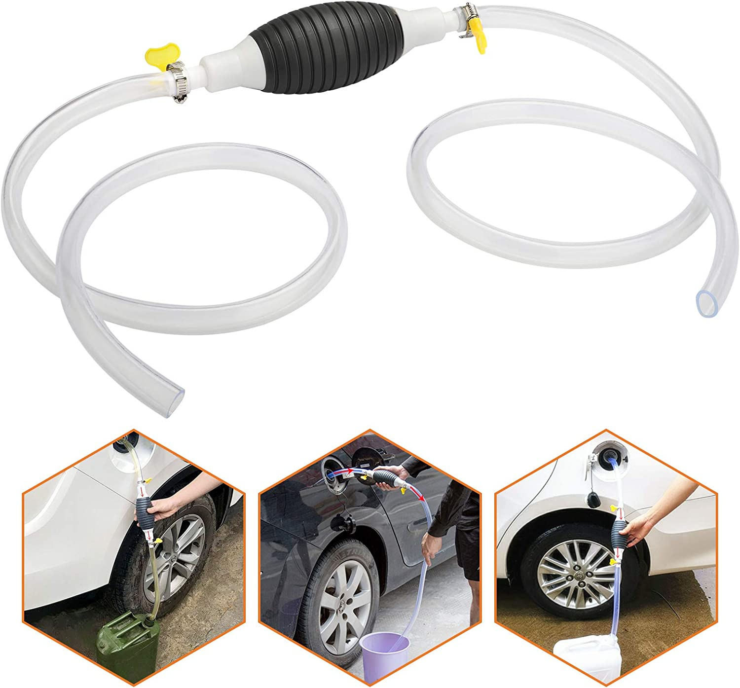 Linkstyle Hand Transfer Pump High Flow Siphon Hand Fuel Pump Portable Manual Car Boat Fuel Transfer Mount for Gas Gasoline Petrol Diesel Oil Water Fish Tank Pool with 2M Siphon Hose