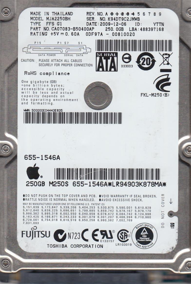 Fujitsu 250GB SATA 2.5 Hard Drive MJA2250BH FFS G1 PN CA07083-B50400AP