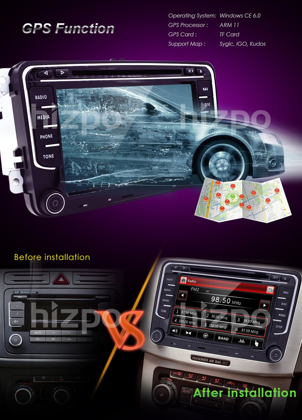 Hd 7 Inch Double Din Car Stereo Gps Dvd Navi For Vw Golf Amazoncom Install Dash Kit Ford 500 06 2006 Radio Wiring Polo Passat Tiguan Jetta Eos Us Map Camera Capacitive Screen Navigation