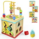 TOP BRIGHT Activity Cube Wooden Toys for One Year Old Girl and Boy Gifts Educational Bead Maze Shape Sorter Small Size