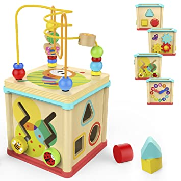 Amazon Com Top Bright Activity Cube Toys Baby Educational Wooden