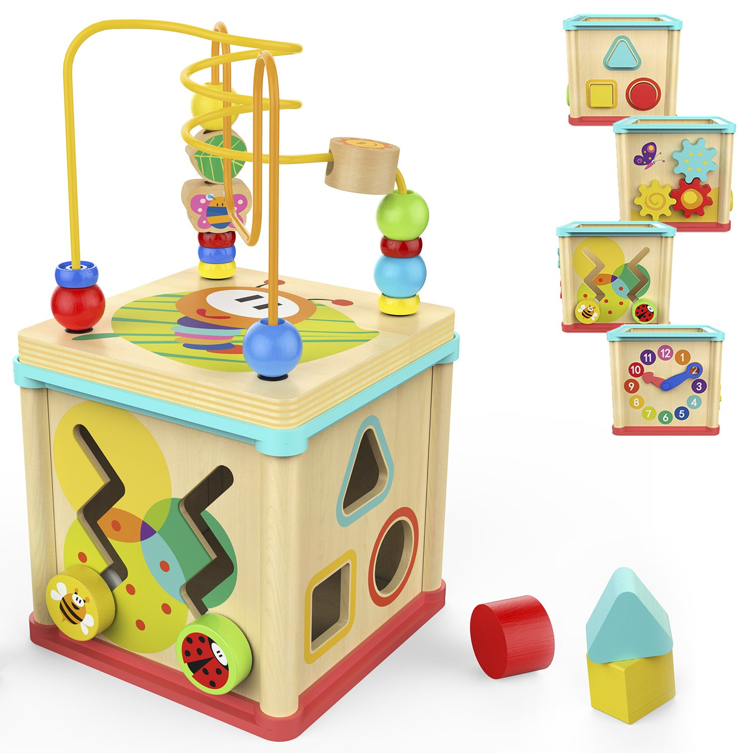 TOP BRIGHT Activity Cube Toys Baby Educational Wooden Bead Maze Shape Sorter 1 year old Boy Girl Toddlers Gift Small Size