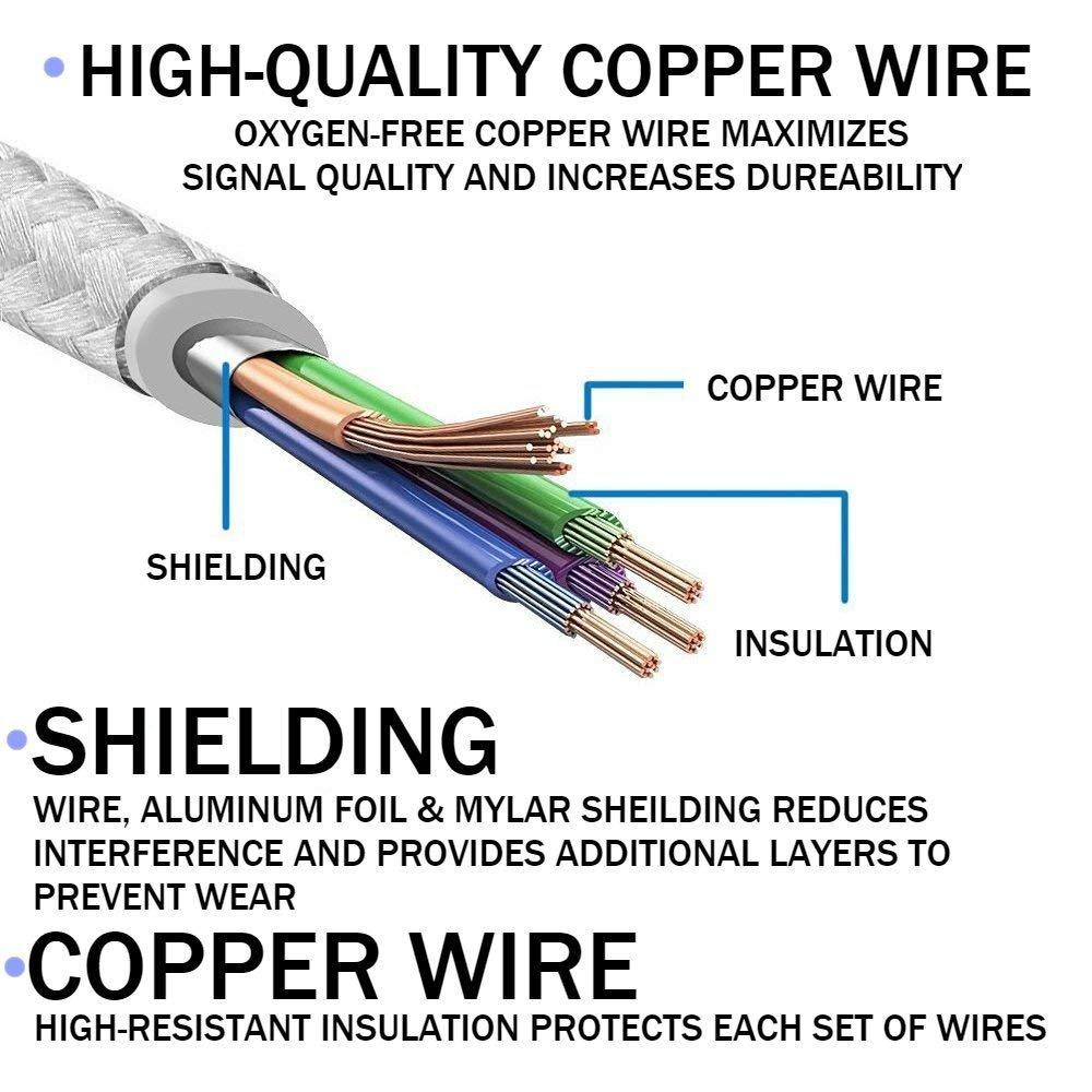 Ahker Short Phone Cable 3pack 1ft 30cm Nylon Braided Usb Charging Iphone Speaker Wiring