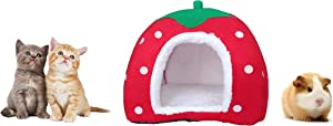 ShopTrend Cute Soft Sponge Strawberry Pet Cat Dog House Bed Warm Cushion Basket Size: S ( 10.2 x 10.2 x 11 inches )