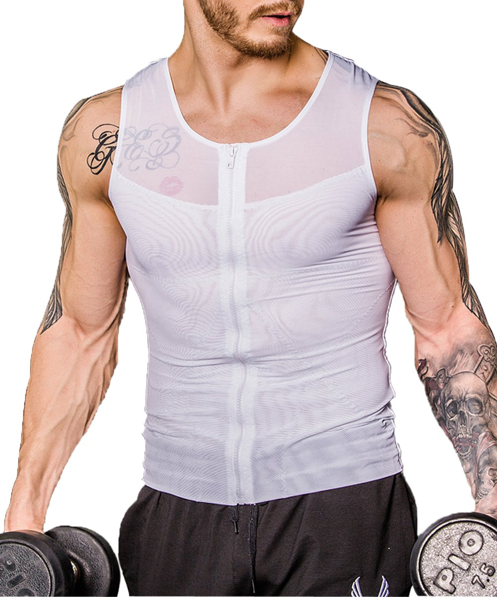 Shaxea Zipper Men's Strong Compression Shirt to Hide Gynecomastia Body Shaper Chest Slimming Body Shaper fit Undershirt (Medium, White)
