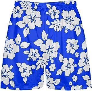 LightningWear Royal Blue White Hawaiian Shorts - Workout Shorts - Sublimated Lacrosse Shorts