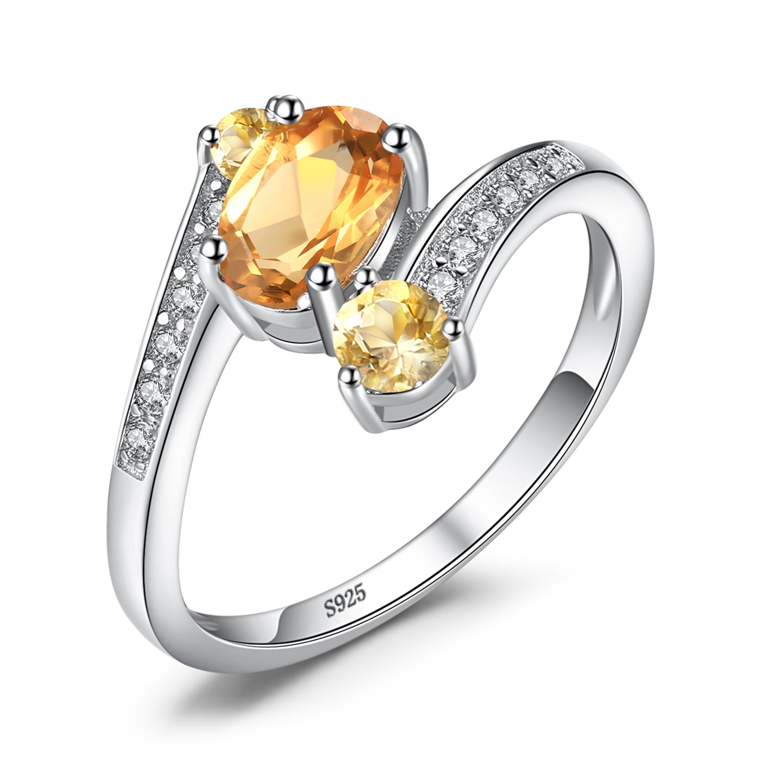 JewelryPalace Natural Amethyst Citrine Garnet Peridot Topaz 3 Stones Anniversary Ring 925 Sterling Silver CA-LR00720