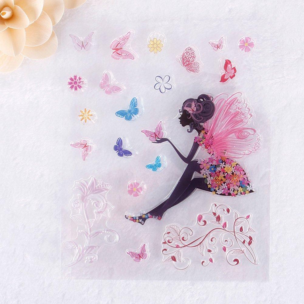 Zhuotop elegante Little Fairy modello DIY grande trasparente timbro di gomma sigillo fai da te scrapbooking Decor 3937691
