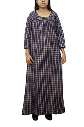 Indiatrendzs Women Stylish Nightgown Check Print Sleep wear Dark Blue  Nighty XL  Amazon.in  Clothing   Accessories 42957d8d2