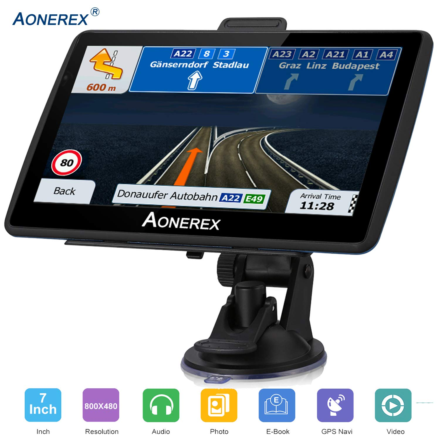 Aonerex GPS Navigation for car 7 inch Touch Screen +256MB 8GB Voice Prompt GPS Navigation System Built-in Lifetime Maps,Advanced Lane Guidance and Spoken Turn-by-Turn Directions