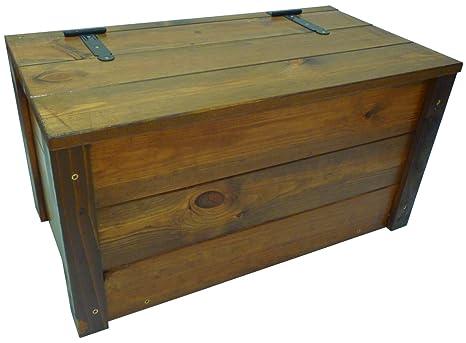 Baule legno noce marrone panchetta contenitore cassapanca con ...