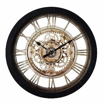 Relojes de pared 24 pulgadas gran sala de imitación reloj para los accesorios mecánico reloj industrial hierro retro creativas reloj reloj de cuarzo: ...