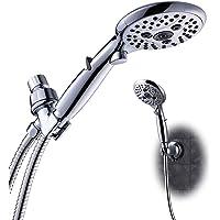 "6 Sprays 5"" Face Push Button High Pressure Powerful Hand-held Shower Head with Hose & Bracket, Premium Rainfall Massage…"