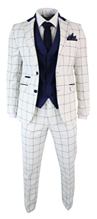 0403e220f18 Mens Cream Blue Check 3 Piece Suit Tailored Fit Tweed Retro Smart Formal  Vintage - Cream