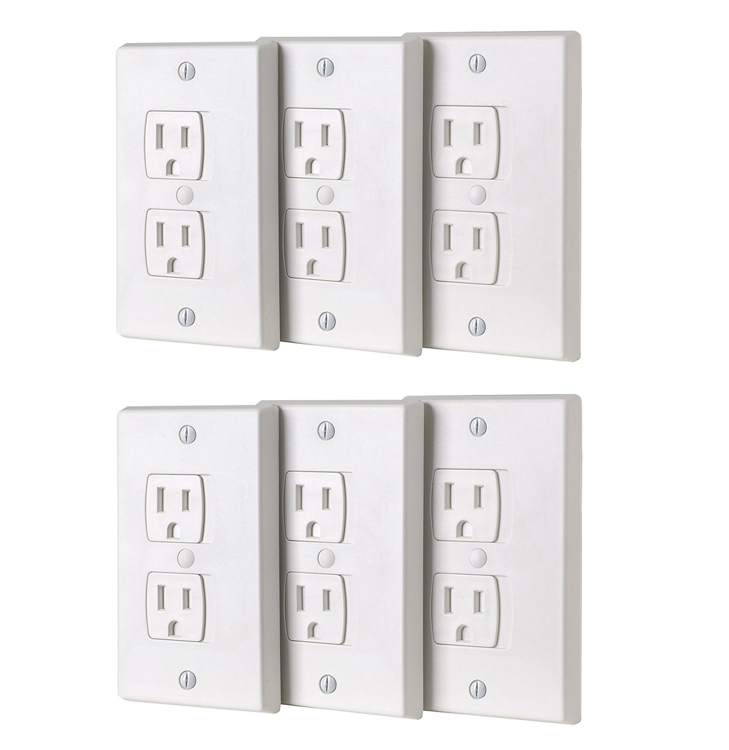 BUENAVO Universal Electrical Outlet Covers, Baby Safety Self-Closing Wall Socket Plugs Plate Alternate for Child Proofing, BPA Free (6 Pack)