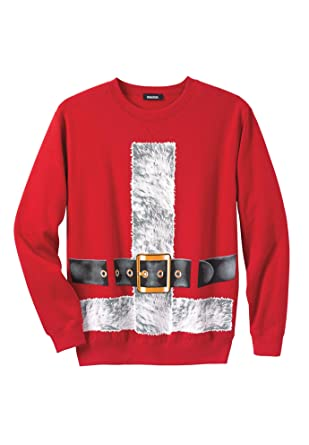 5a7a4f14 KingSize Men's Big & Tall Festive Fleece Crewneck, Santa Suit Tall-L at  Amazon Men's Clothing store: