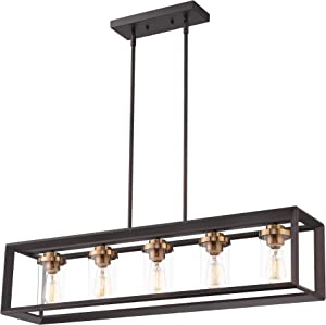 Zeyu 5-Light Kitchen Island Lighting, Modern Linear Pendant Light Fixture, Oil Rubbed Bronze and Gold Finish with Clear Glass, 013-5 ORB+BG